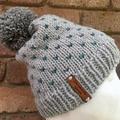 Knitted grey green fair isle beanie, pompom beanie, beanie, slouchy hat mens