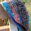 crocheted beret, made from silk, wool, acrylic blend yarn, rich and dark