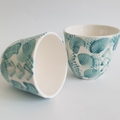 Hand Made, Porcelain Tea Cups - Set of two