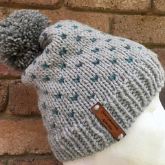 Knitted grey green fair isle beanie, pompom beanie, beanie, slouchy hat mens