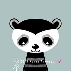 Raccoon black & white cutie. Digital Download