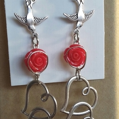 LOVE BIRDS ROSE Earrings