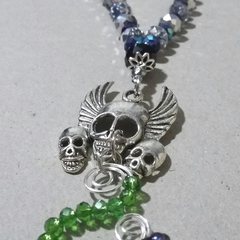WINGED SKULLS W/ FLOWER SPIRAL Choker Necklace