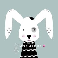 Rabbit  black & white cutie. Digital Download