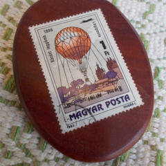 Brooch handcrafted from reclaimed hardwood and vintage hungarian stamp ON SALE!!
