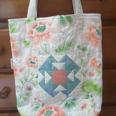 Quilted Tote Bag with Patchwork Panel - Hand Painted and Beaded - Cream, Coral