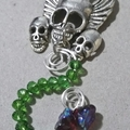 WINGED SKULLS W/ FLOWER SPIRAL Choker Necklace