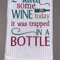 Wine themed embroidered Tea Towel