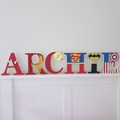 Name Plaque for Wall or Door. 17cm Super Hero Theme. 6 letters