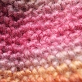 child's crocheted gumnut hat, wool and soy yarn orange, pink, mauve