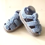 3 - 9 mths Baby Sandal Shoes, Grey / Blue , Hand Knit