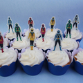 16x Power Rangers EDIBLE cupcake cake toppers stand up birthday