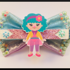 Pastel Circus Clown on a Branch Hair Bow comes as a beautiful hair tie.