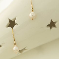 9ct White Pearl Classic Drop Earrings