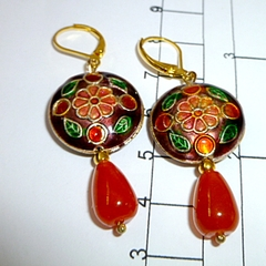 Enamel and topaz earrings