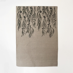 Tasmania's own Black peppermint screen printed linen tea towel