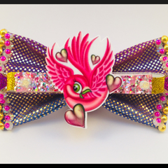 Hot Pink Love Bird Hair Bow comes as a beautiful hair tie