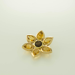 18ct Solid Gold Sunflower Flower Pendant