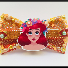 Princess Ariel (from the little mermaid) Hair Bow comes as a beautiful hair tie
