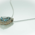 18ct White and Rose Gold Diamond and Blue Topaz Pear Pendant