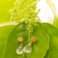 18ct Gold Citrine and Quartz Drop Earrings
