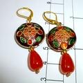 Enamel and topaz earrings