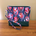 Protea Charcoal -Wristlet with leather accent
