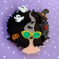 Big Hair Lady Halloween - Acrylic Brooch