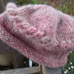 knitted winter hat with rolled brim and lace detail.  ON SALE!!!