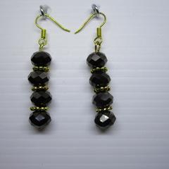 Glass rondelle jet black earrings