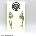 Drop dangle earrings with curve, bead and chain