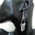 Silver Cross and Clear Quartz Earrings, Gemstone Earrings
