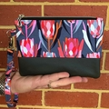 Protea Charcoal - Regular Wristlet with leather accent