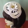 """Sunflower Headband Fascinator - """"White Beauty"""""""