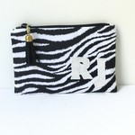 Monogrammed zebra print clutch purse. Personalised for you.