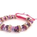 Adjustable Beaded Bracelet, Formal Bracelet - Shades of Pink
