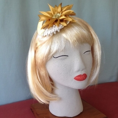 "Sunflower Headband Fascinator - ""Pearls n Gold"""