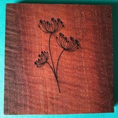 Engraved Redgum Coasters - Flower 1