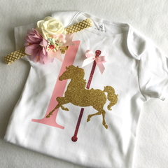Carousel Pony Birthday Bodysuit and Headband