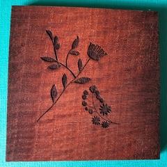 Engraved Redgum Coasters - Flower 2
