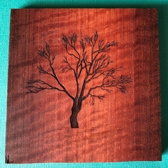 Engraved Redgum Coasters - Tree 2