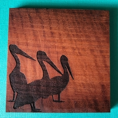 Engraved Redgum Coasters - Pelican