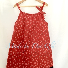 Christmas DRESS - RED STARS : Toddler Girls 4