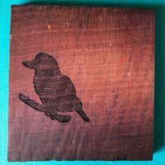 Engraved Redgum Coasters - Kookaburra