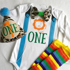 Jungle Lion Theme First Birthday Bodysuit. Party hat & legwarmers