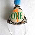Jungle Lion Theme First Birthday Bodysuit. Party hat & legwarmers