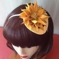"Sunflower Headband Fascinator - ""Pearls n Gold"""