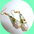 Enamel and pearl earrings