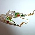 Enamel and pearl earrings