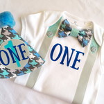 First Birthday Baby Boy Outfit. Bow Tie & Suspenders Bodysuit with Party Hat